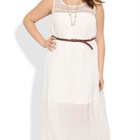 Plus Size Crochet Maxi Dress with Illusion Neckline and Belt