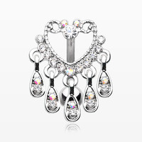 Heart Sparkle Chandelier Reverse Belly Button Ring