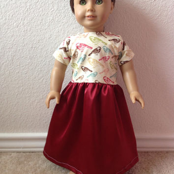 Springtime Bird Dress: fits American Girl and most 18 in dolls