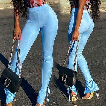 Autumn new fashion slit tight high waist casual trousers women