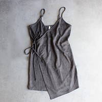 Faux Suede Wrap Cami Dress in More Colors
