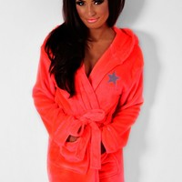 Elsa Neon Coral South Beach Dressing Gown | Pink Boutique