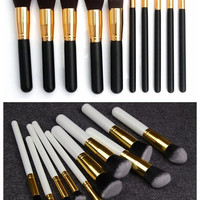 Makeup Brush Set (10pcs Black/White) Cosmetic Brushes = 1705168964