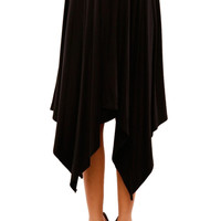 Dressy High Waisted Knit Hi-Low Midi Skirt