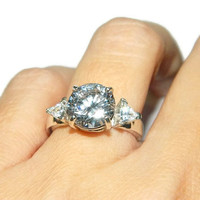 Engagement Ring, Sterling Silver Anniversary Ring, 8 Carats