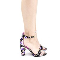 Frenzy41 Metallic Floral Ankle Wrap Sandal On High Block Heel