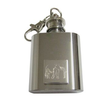 Silver Toned Etched Right Facing Elephant 1 Oz. Stainless Steel Key Chain Flask