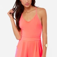 California Calling Backless Neon Coral Romper