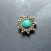 Large Sterling Silver Turquoise Sun Microdermal Jewelry