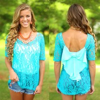 Lace Talk About It Top in Turquoise