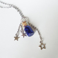 Make a Wish - BLUE GLITTER - with stars - glass bottle jewelry