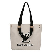 LV Simple Canvas Bag Tote Bag All-match Tote Bag Black