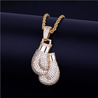 Bling Boxing Gloves Pendant Necklace