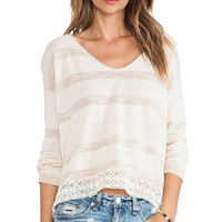 Free People Pebble Dash Sweater in Cream
