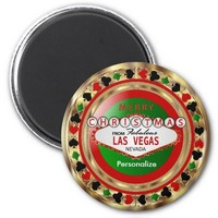 Golden Merry Christmas Las Vegas Style 2 Inch Round Magnet