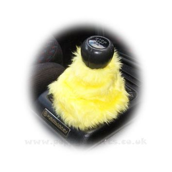 Sunshine Yellow fuzzy faux fur gear stick gaiter cover