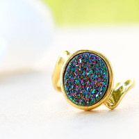 Rainbow Druzy Ring,Peacock Ring,Gold Ring,Agate Ring,Gemstone Ring,Geode Ring,statement ring,Mom Ring,Mother Ring,Gifts idea,woman ring