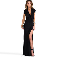 Black Deep V-Neck Lace Front Maxi Dress