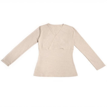 Long Sleeve Nursing Top - Beige