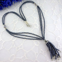 Black seed bead tassel necklace, statement necklace, long black necklace