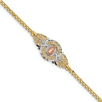 14k Two-Tone w/Rhodium Our Lady of Guadalupe Bracelet FB1455