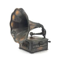 Vintage Die Cast Miniature Victrola Gramophone Phonograph, Durham Industries,Copper Tone Metal,Made in Hong Kong,Vintage Dollhouse Furniture