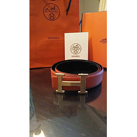 Orange Mens Hermes Belt Leather With Gold H Buckle 100cm 38
