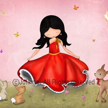 Girls art prints, children room decor, Happy dancing girl with forest animals nursery wall art, pink red