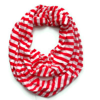 ready to ship red and white Stripe knit infinity scarf modern nautical