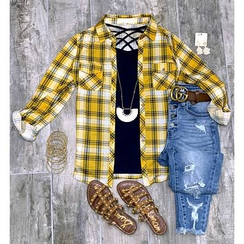 Penny Plaid Flannel Top - Ivory/Mustard/Navy