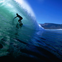 Surfing the Tube at Dunes, Noordhoek Beach, Cape Town, South Africa Photographic Print by Paul Kennedy