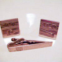 Vintage SWANK Silver Etched Design Cuff Links and Tie Clip
