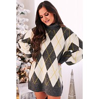 Checking You Out Turtleneck Sweater Dress (Charcoal)