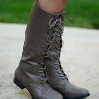 Laced Up Boots - Beige