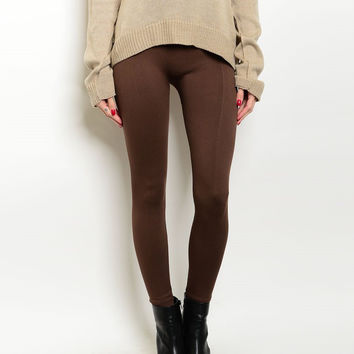 High Waist Fleece Leggings in Brown