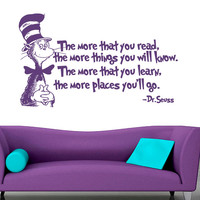 Wall Decal Vinyl Sticker Decals Art Decor Sign Then place you ll go Dr. Seuss Quote Cat Words Kids Bedroom Children Nursery Fashion  ( r625)