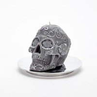 Skull Floral Grey/Pearl Candle