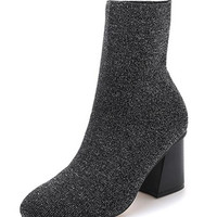 Grey Variegated Round Toe Stretch Heeled Boots