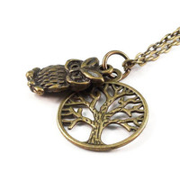 Owl Necklace, Tree of Life
