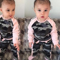 2017 Autumn Winter Girls Camouflage Long Sleeve T-shirt and Pants 2 piece outfit 12M 24M 3T and 4T