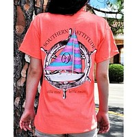 Country Life Southern Attitude Sail Boat Coral Vintage Nautical T-Shirt