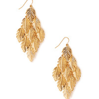 FOREVER 21 Dazzling Feather Drop Earrings Gold One