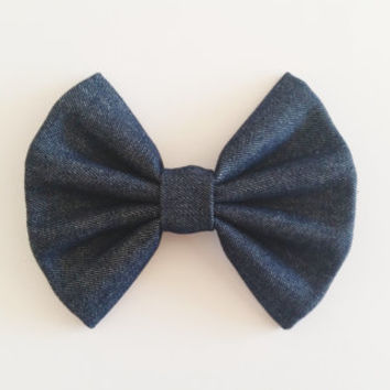 Denim Hairbow, Large Navy Blue Hairbow, Chignon Hairbow, Fabric Hairbow great for a bun, Alligator clip or barrette