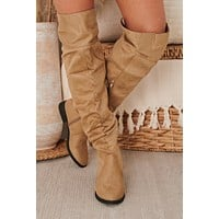 IMPERFECT Fortress Over The Knee Slouchy Boots (Taupe Suede)