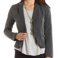 Charcoal Cropped Single Button Blazer by Charlotte Russe