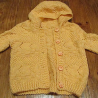 Baby hand-knitted sweater, peach knitted sweater, baby soft vest, baby knitting, Handmade for Babies, Gift for Baby