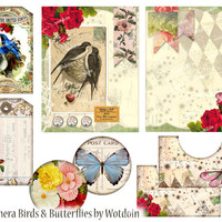 Bird and Butterfly Printable Journal Paper Tags Pockets Mini Kit Digital Download Collage Sheet