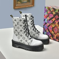 lv louis vuitton trending womens men leather side zip lace up ankle boots shoes high boots 27