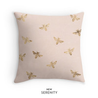 Gold Bee Pillow Cover,Gold Pillow, Bee Pillow Cover, Peach, Decorative Pillow,Cushion Cover, Faux Gold Foil, Home Decor,NewSerenityStudio