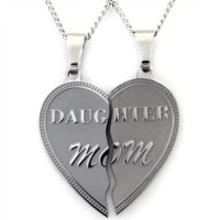Mom Daughter Necklace Heart Pendant Set 2 Half Heart Pieces (2) 18 Inch Chains - Mother Daughter Jewelry
